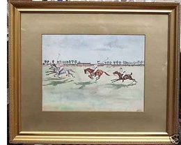 A 19th century original watercolour caricature of a polo match at the Lahore polo club. Signed ASB
