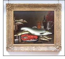 A Still Life of Fish and Lobster by Alexander Dalziel Snr.