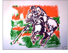 This month's Featured Item is a lithographic print signed F Vio 99 and numbered 30/34 unframed. To celebrate the anniversary of polo 1869-1999.